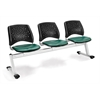 Stars 3-Beam Seating with 3 Vinyl Seats, Teal
